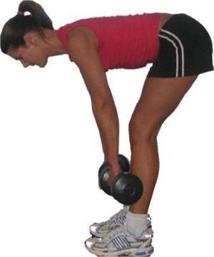 Полезное упражнение для спины с гантелями