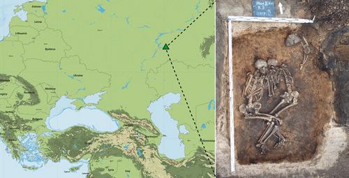 Рис. 2. Расположение курганного могильника Михайловский II в Самарской области и найденные там скелеты